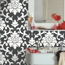 Black Damask Wallpaper Home Decor Brewster 18 5 In X 25 6 In Grey Wood Kitchen Panel Wall Decor Cr