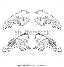 wings sketch collection cartoon vector illustration stock vector