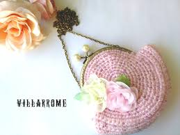 small rose quartz handmade romantic crochet purse shabby chic