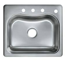 kohler staccato drop in sink kohler staccato drop in stainless steel 25 in 4 hole single bowl