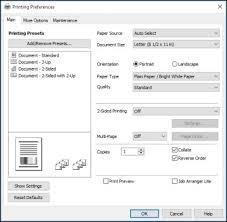 download resetter epson l110 windows 7 selecting default print settings epson universal print driver