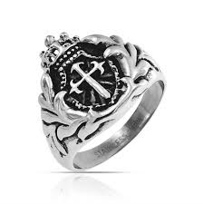 mens crown rings images Mens royal crown knight shield sword cross ring stainless steel jpg