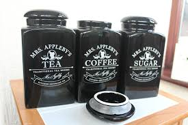 new mrs appleby 3 black ceramic tea coffee sugar storage jars