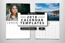Calendar 2018 Ai Template 2018 Calendar Templates Templates Creative Market