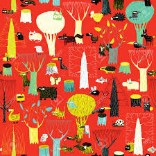 wood animals tapestry seamless pattern in pop colors is