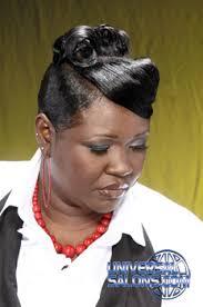 black hair swoop bang updo hairstyle with pin curls and a swoop bang from kandi washington