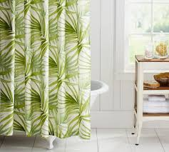 Kitchen Curtains Pottery Barn by White Bathroom And Green Shower Curtain I Love The Pattern For