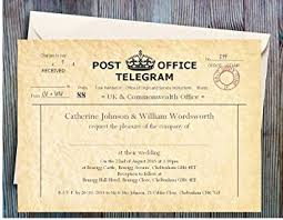 telegram wedding invitation personalised wedding invitations 40 vintage telegram wedding