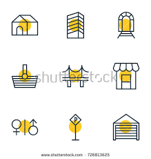 Sign Awning Vector Illustration 9 Urban Icons Editable Stock Vector 726813625