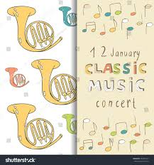 Classic Invitation Card Classic Music Concert Invitation Card Doodle Stock Vector
