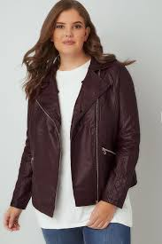 burgundy pu leather look biker jacket with faux fur collar plus