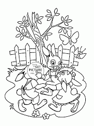 happy easter holiday bunnies coloring page for kids coloring