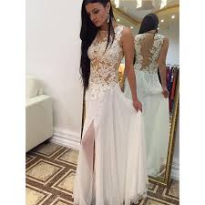 white floral lace prom dress with front split illusion prom