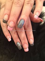 charcoal grey glitter and baby pink freehand nail art finger