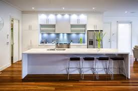 design white modern kitchen with led lighting rectangular long