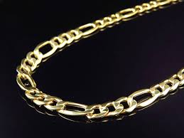 figaro chain gold necklace images New mens genuine 10k yellow gold italian figaro link chain jpg