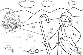 grand moses and the burning bush coloring pages burning bush moses