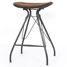ryder saddle vintage leather iron counter stool zin home