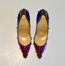 Christian Louboutin Degraspike 100 Blue Ombre Purple Heels