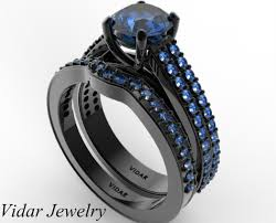 black wedding sets women s blue sapphire wedding ring set in black gold vidar