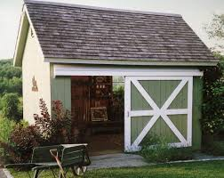 Barn Style Doors by Cute Green Shed With Sliding Barn Style Door The Cabin