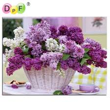 flower baskets diamond painting cross stitch purple flower baskets mosaic diamond