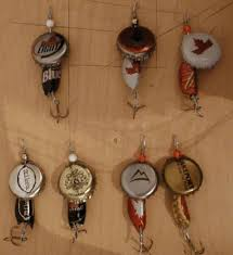 bottle cap fishing lures might make these as ornaments and make