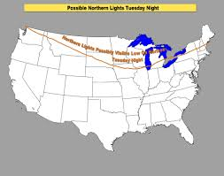 Map Of Northern Michigan by Northern Lights Possible In Michigan When Where You Could See
