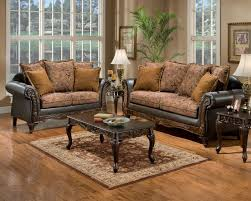 Leather And Fabric Living Room Sets Classic Living Room With Carved Black Wooden Table Beside