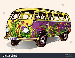 volkswagen bus painting hippie vintage bus retro car handdrawing stock vector 494152444