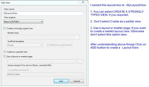 get layout from view layout view view and partial view in asp net