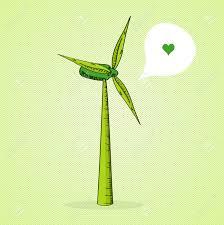 sketch stile wind turbine love social media bubble royalty free
