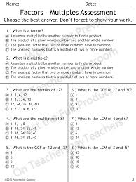 prime numbers and factors worksheet factors and multiples quiz 4 oa 4 factors word problems and