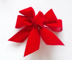 set of red velvet christmas tree bows small bows set of 6