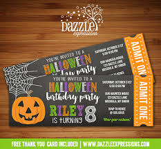 printable chalkboard halloween party ticket birthday invitation