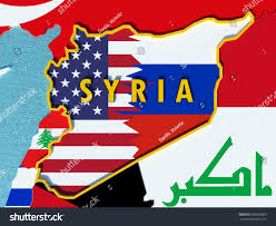 Map Of Syria And Russia Map Syria Divided Usa Russia Flags Stock Illustration 565838809