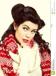 woman retro hairstyle warm clothing winter fashion royalty free