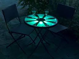 Led Bistro Table Aruba Solar Garden Bistro Set 60cm Table With Led Lights And 2