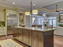 terrific drum shade ceiling lights over large kitchen island with