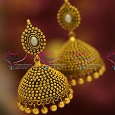 gold jhumka earrings antique gold plated nagasu nakshi indian fancy floral design