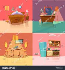Bedroom Cartoon Interior Retro Set Bedroom Dining Room Stock Vector 373557517