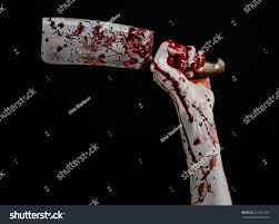 halloween zombie background bloody hand holding large knife meat stock photo 221231587