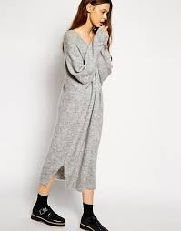 asos asos oversized jumper dress with v neck in mohair wool mix