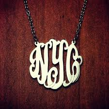 3 initial monogram necklace silver 1 25 inch sterling silver cut out script initial monogram