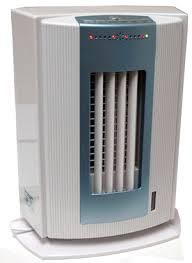 fan that uses ice to cool unistar df158 half size evaporative air cooler with ionizer blue