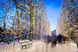 winter park christmas lights people walking in winter park decorated with christmas lights