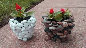 beautiful stone u0026 concrete flower pots ideas river rock planters