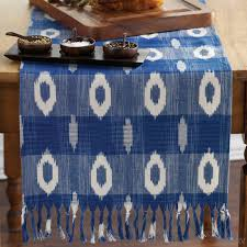 table runner linens blue white ikat table runner