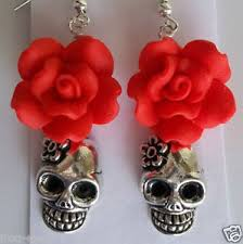 rockabilly earrings day of the dead wedding flower sugar skull
