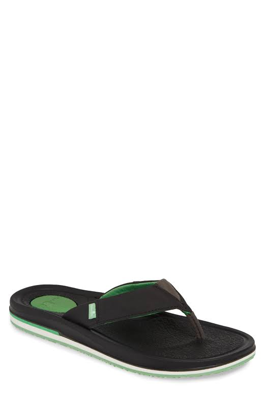 Sanuk Beer Cozy 3 Black / Green Sandal 11M